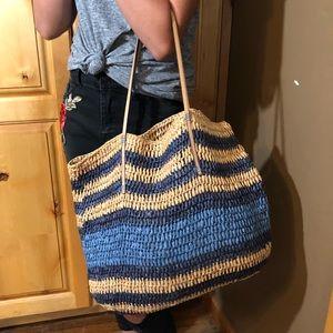 LOFT Bags - LOFT Striped Straw Beach Tote Bag